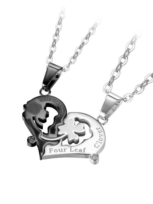 1937 [black single pendant] Titanium Steel Heart Hip Hop Necklace